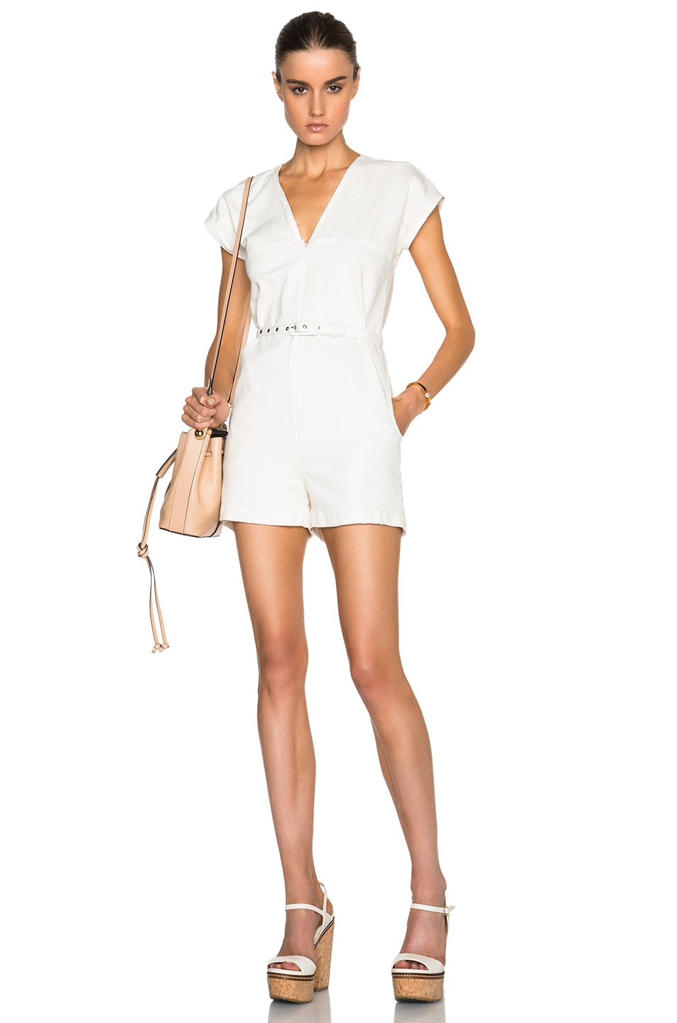 a930e490a6d3 Image 1 of Rachel Comey Short Glinda Jumpsuit in Dirty White