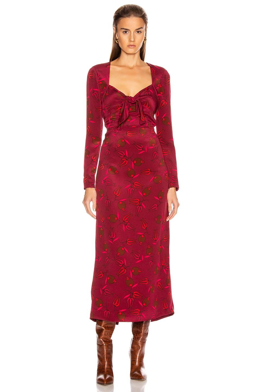 Image 1 of Rebecca De Ravenel Long Sleeve Zaza Dress in Red Combo
