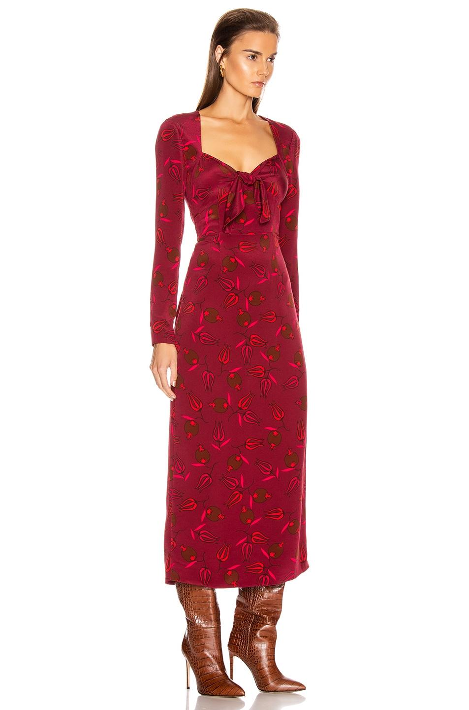 Image 2 of Rebecca De Ravenel Long Sleeve Zaza Dress in Red Combo
