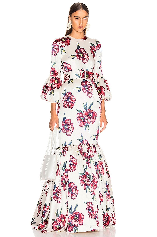 Image 1 of Rebecca De Ravenel Bell Sleeve Patio Dress in Red Hibiscus