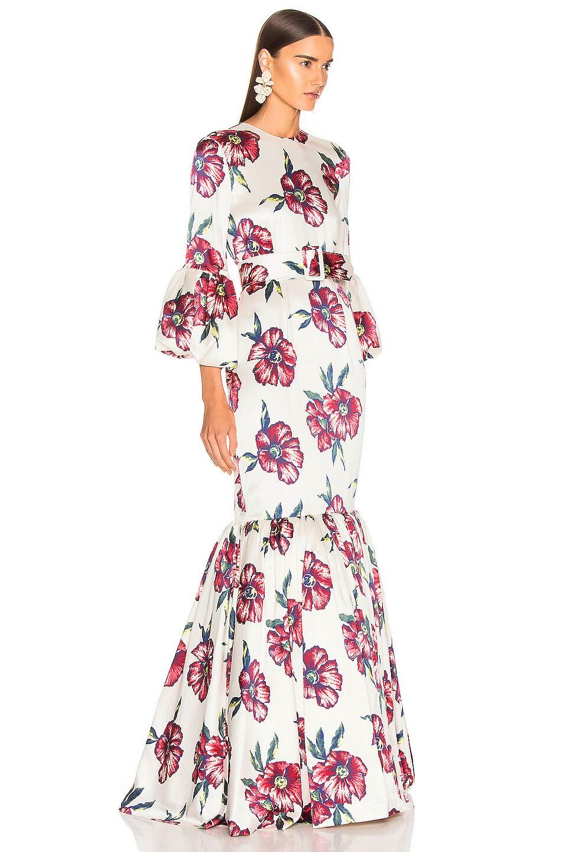 Image 2 of Rebecca De Ravenel Bell Sleeve Patio Dress in Red Hibiscus