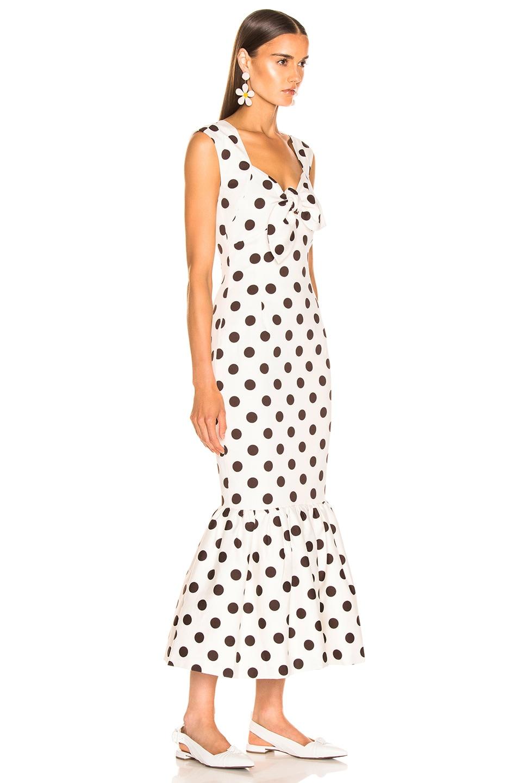 Rebecca De Ravenel Tie Front Tulip Dress White & Chocolate Dots well-wreapped