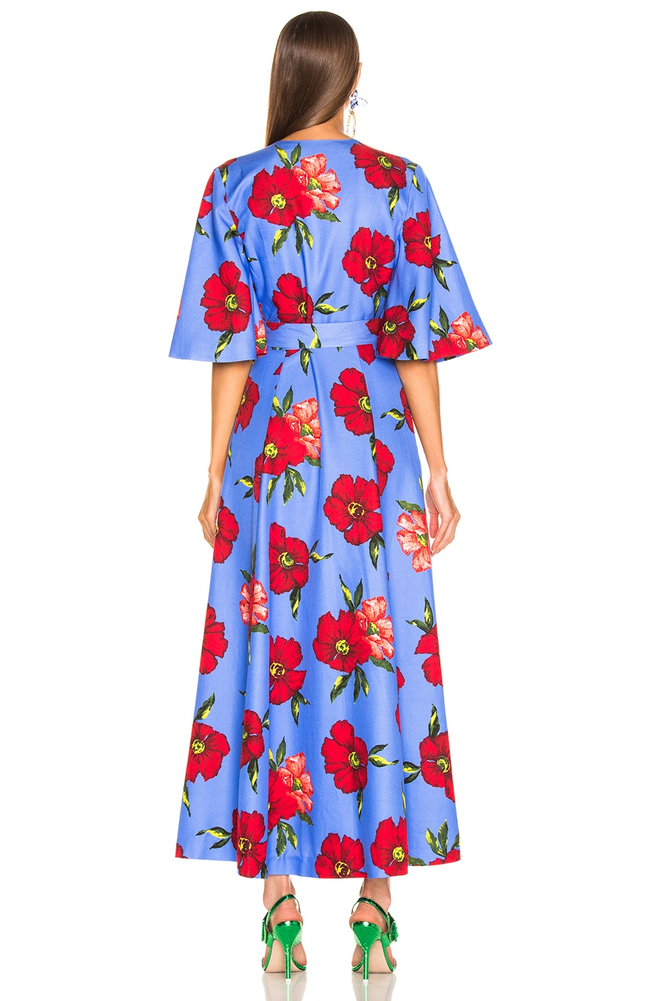 Image 3 of Rebecca De Ravenel Daisy Wrap Dress in Blue Hibiscus