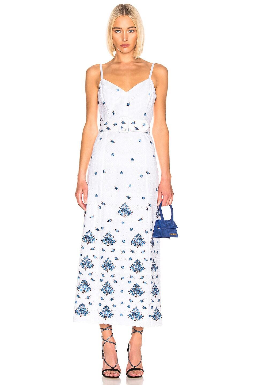 Image 1 of Rebecca De Ravenel Picnic Eyelet Dress in Ivory & Blue