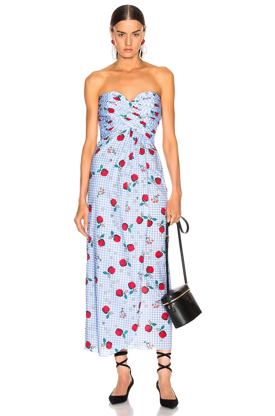 Image 1 of Rebecca De Ravenel Dandelion Strapless Dress in Flying Fruit Print