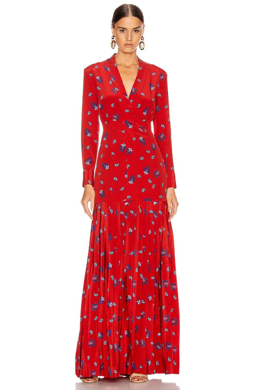 Image 1 of Rebecca De Ravenel Pleated Dress in Red Combo