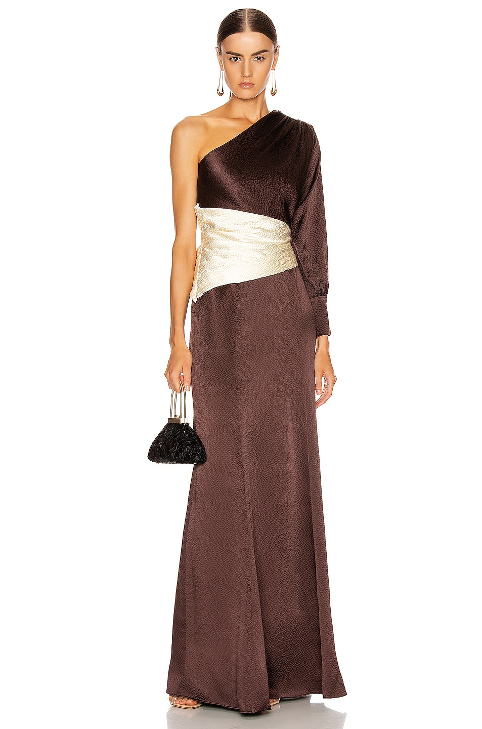 Image 1 of Rebecca De Ravenel One Shoulder Gown in Chocolate & Ivory