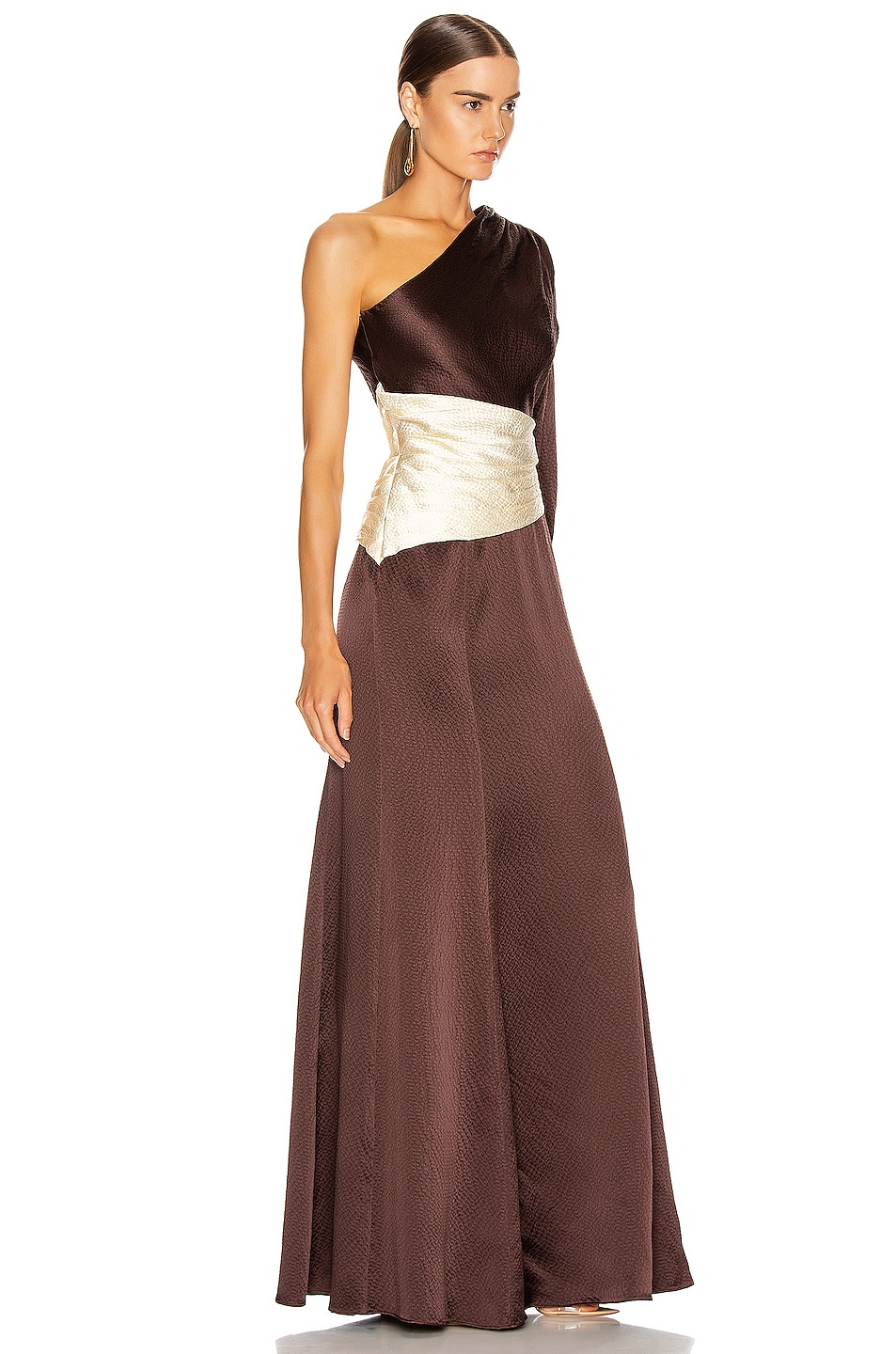 Image 2 of Rebecca De Ravenel One Shoulder Gown in Chocolate & Ivory