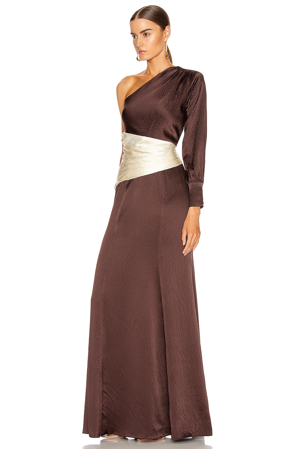 Image 3 of Rebecca De Ravenel One Shoulder Gown in Chocolate & Ivory