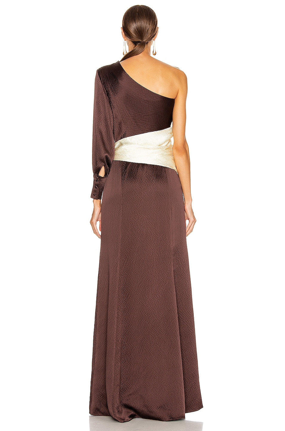 Image 4 of Rebecca De Ravenel One Shoulder Gown in Chocolate & Ivory