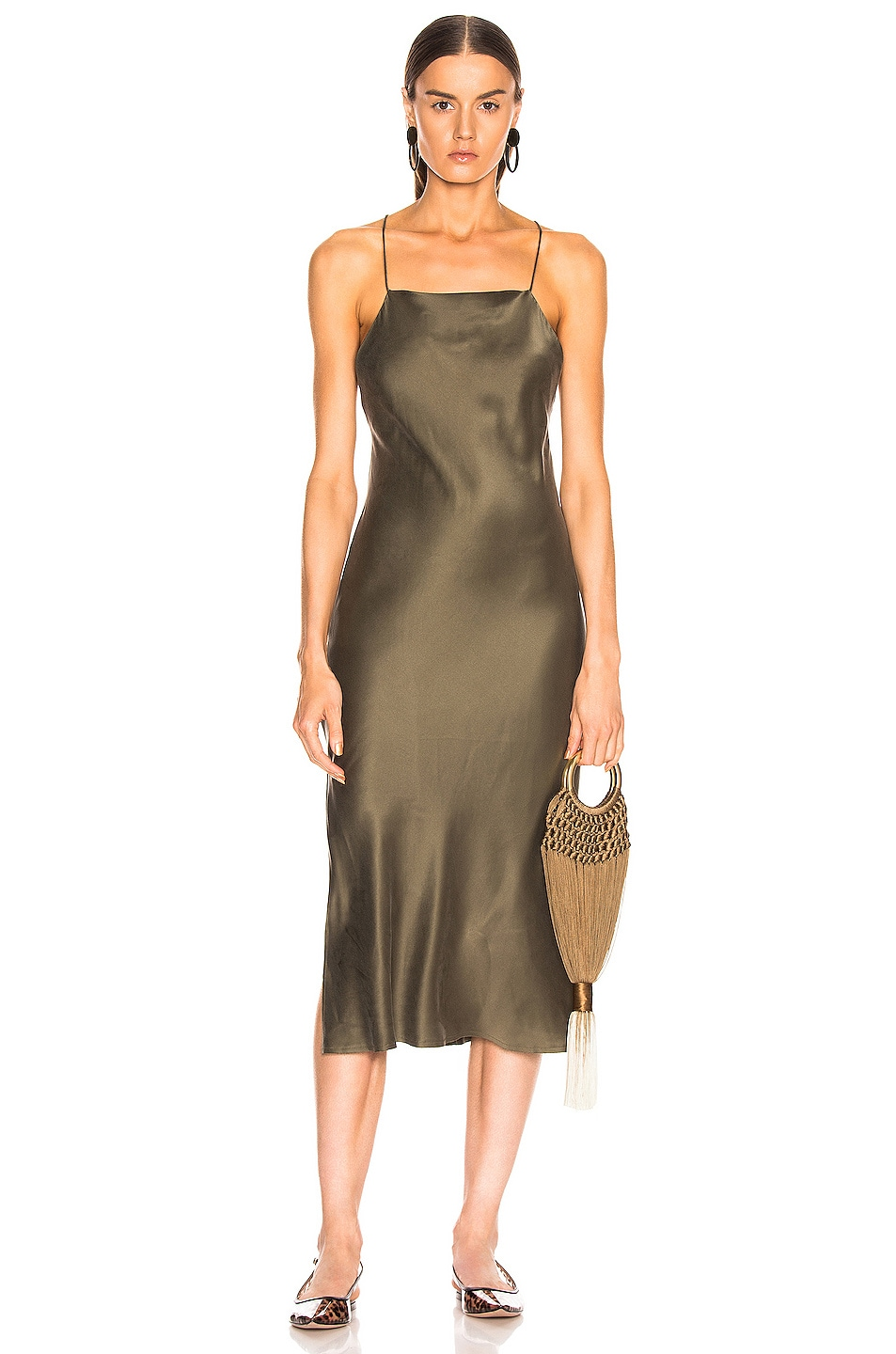 Image 1 of RE/DONE 90's Long Slip Dress in Army Green