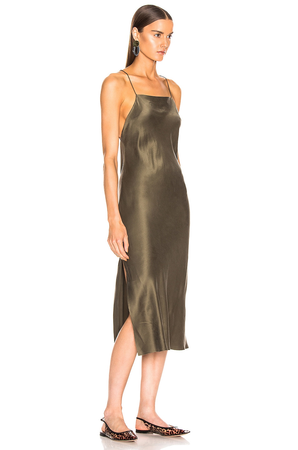 Image 2 of RE/DONE 90's Long Slip Dress in Army Green