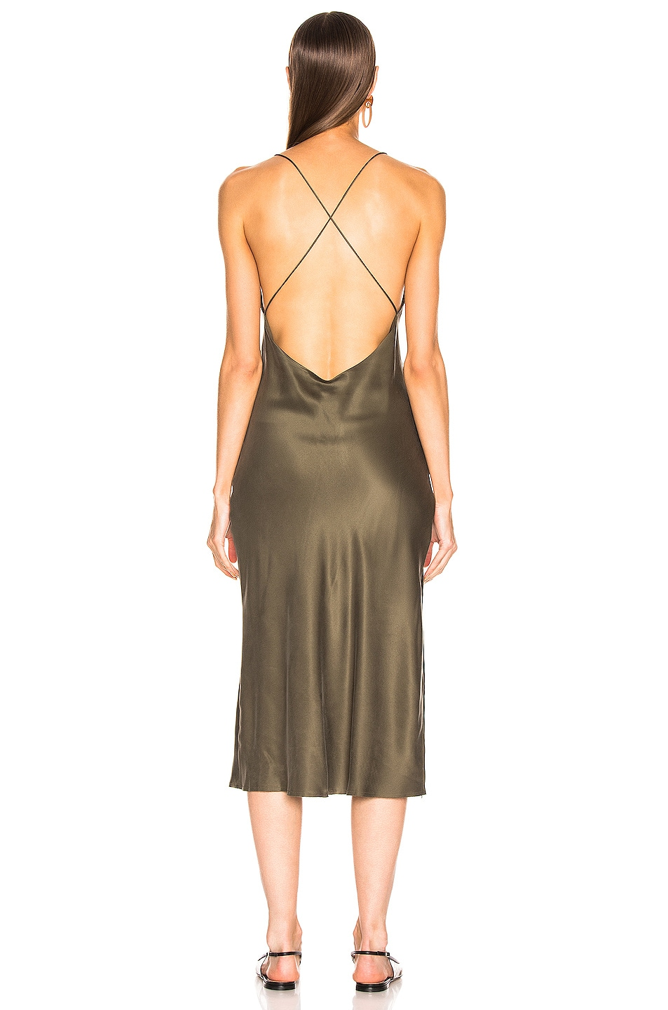Image 3 of RE/DONE 90's Long Slip Dress in Army Green