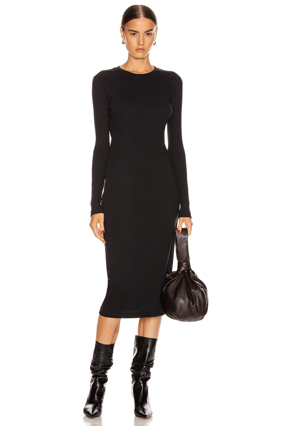 Image 1 of RE/DONE 90's Long Sleeve Ribbed Dress in Black