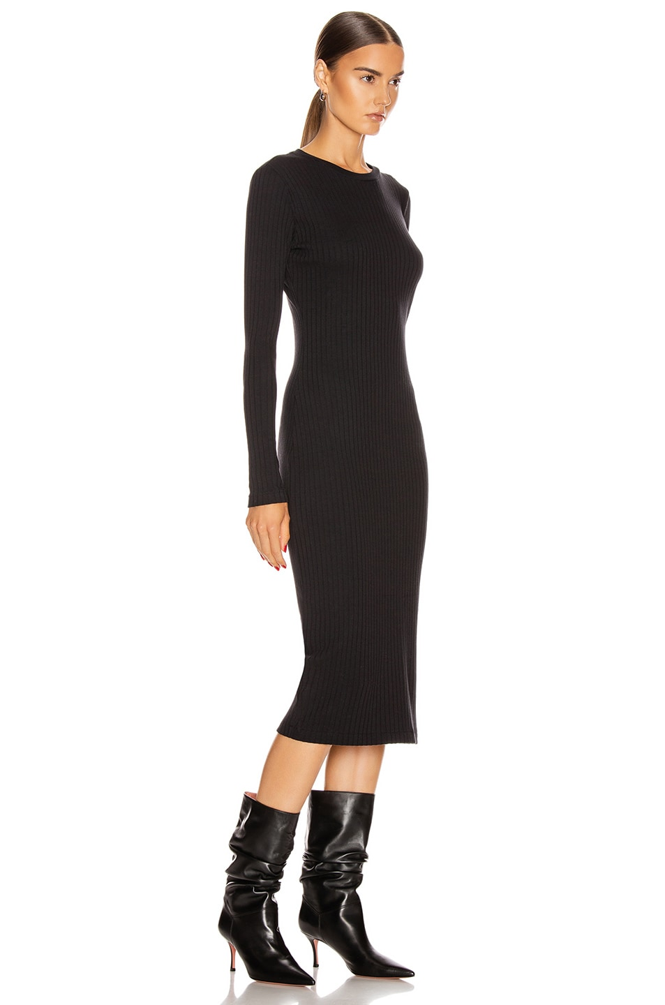 Image 2 of RE/DONE 90's Long Sleeve Ribbed Dress in Black