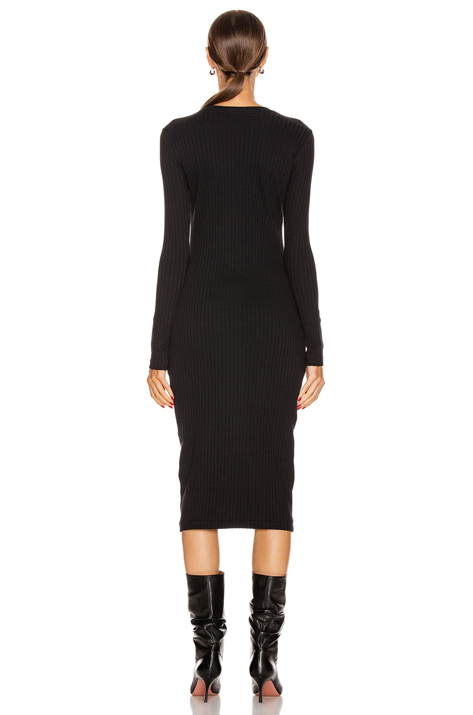 Image 3 of RE/DONE 90's Long Sleeve Ribbed Dress in Black