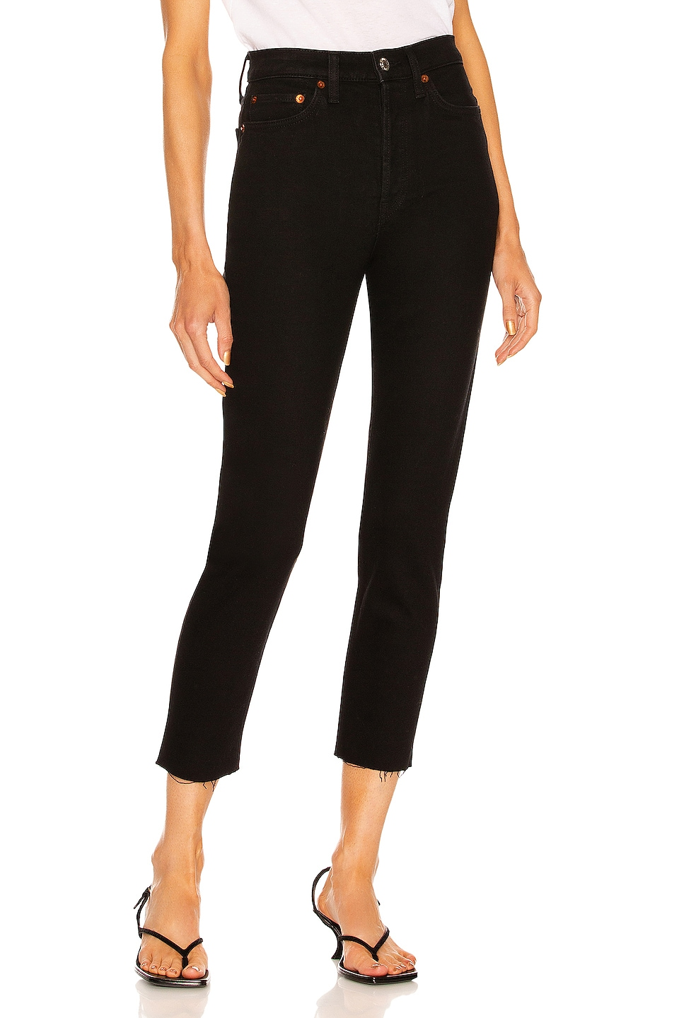 Image 1 of RE/DONE ORIGINALS High Rise Ankle Crop in Black