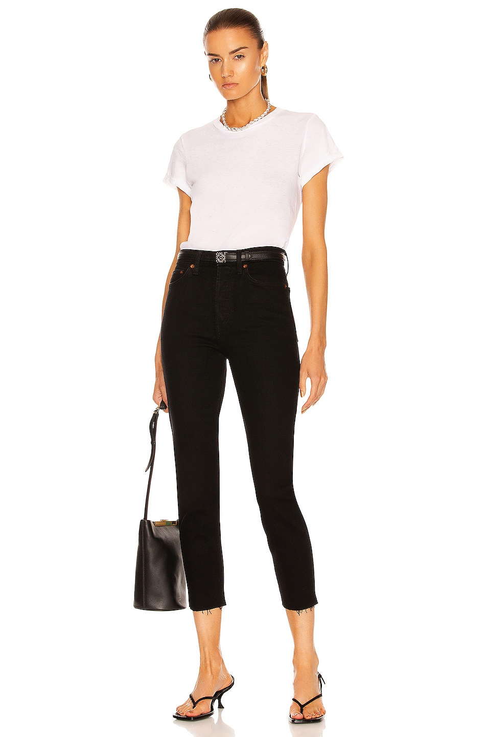 Image 4 of RE/DONE ORIGINALS High Rise Ankle Crop in Black
