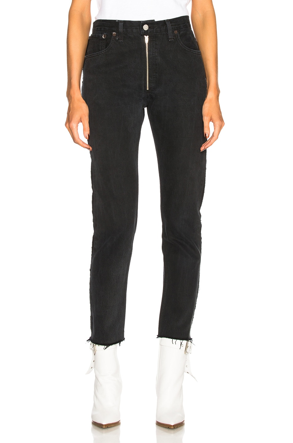 Image 1 of RE/DONE LEVI'S High Rise Zip Front Ankle in Black