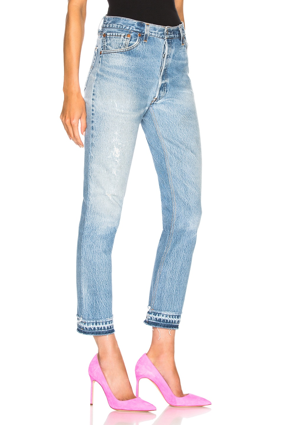 Image 2 of RE/DONE LEVI'S Released Hem High Rise Ankle in Indigo