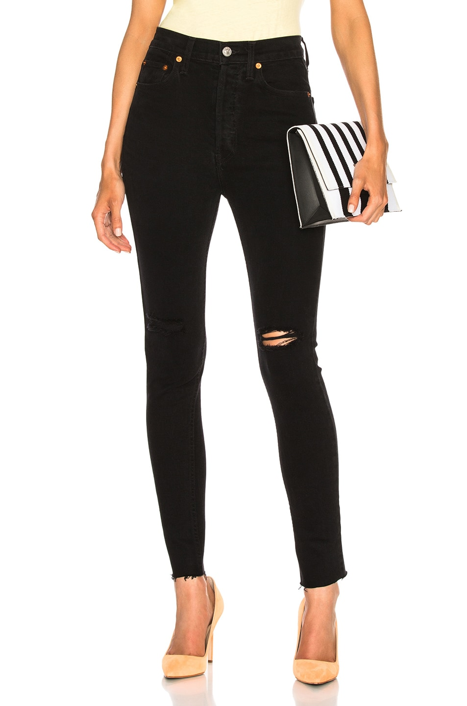 Image 1 of RE/DONE ORIGINALS High Rise Ankle Crop in Destroyed Black