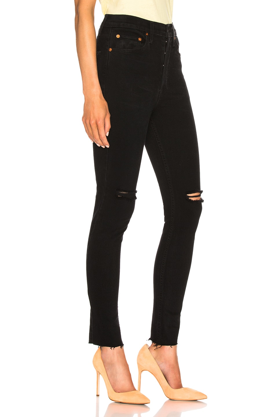 Image 2 of RE/DONE ORIGINALS High Rise Ankle Crop in Destroyed Black