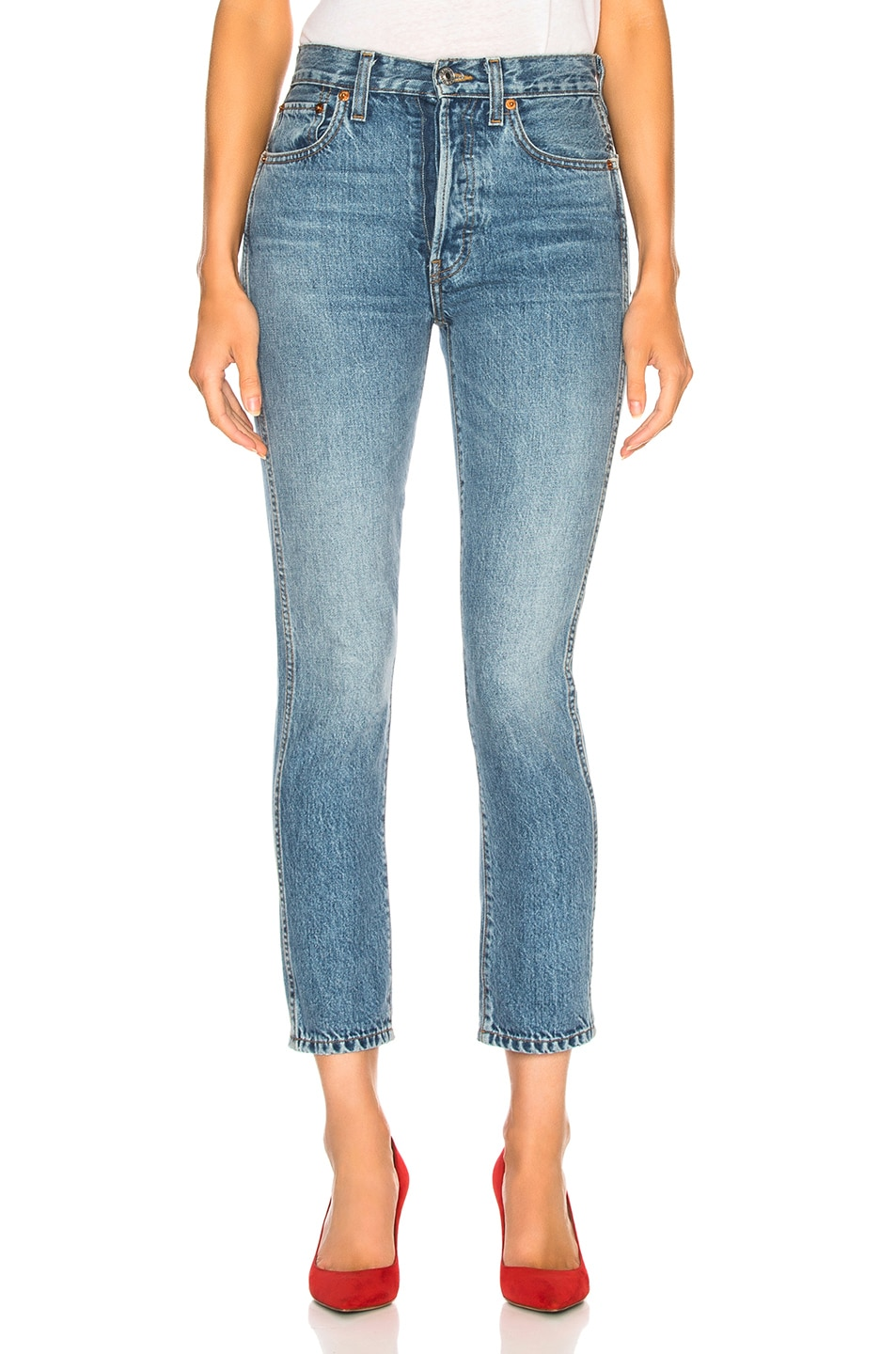 Image 1 of RE/DONE Double Needle Crop Jean in Trucker Wash