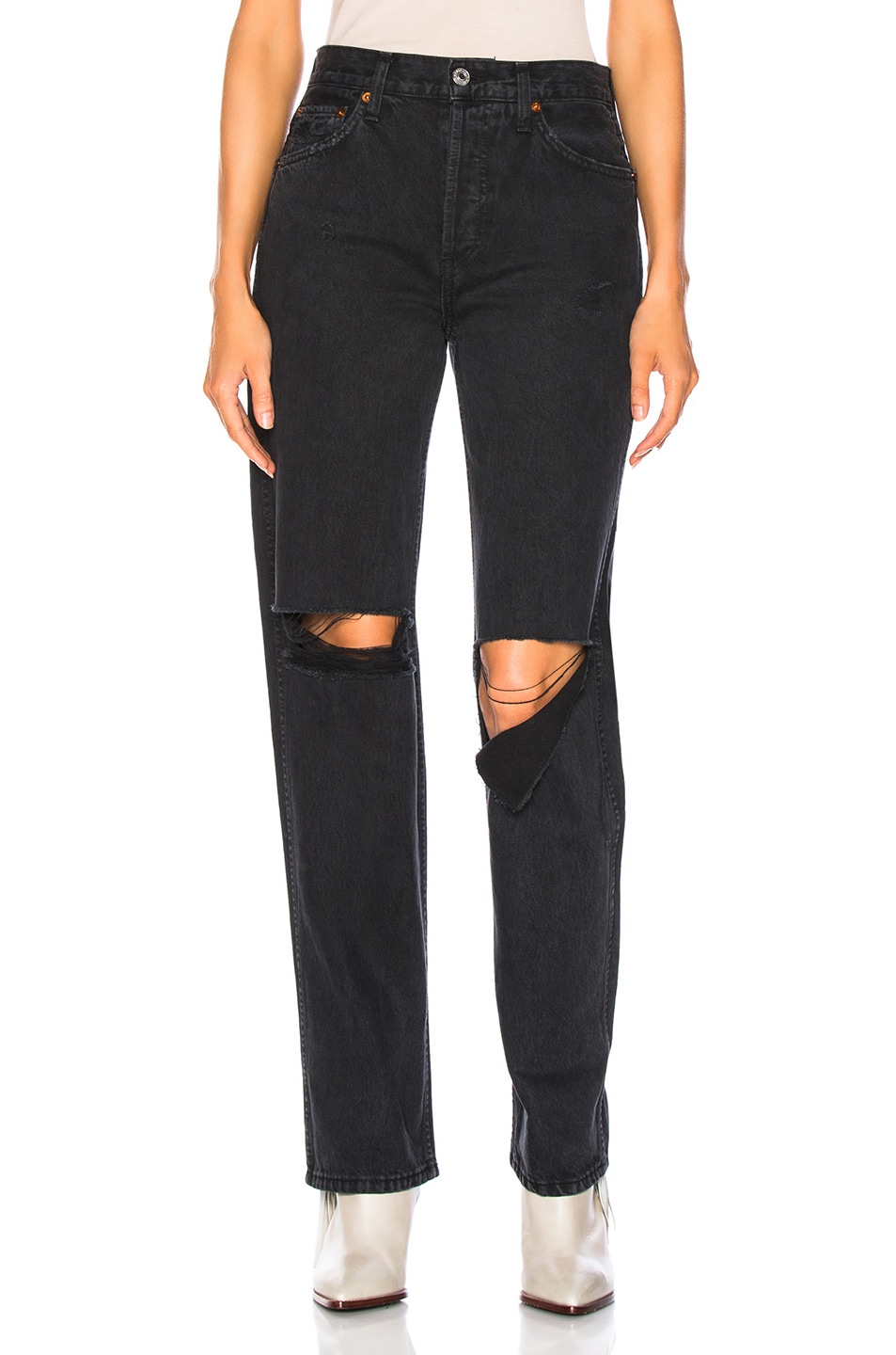 Image 1 of RE/DONE ORIGINALS High Rise Loose in Washed Black