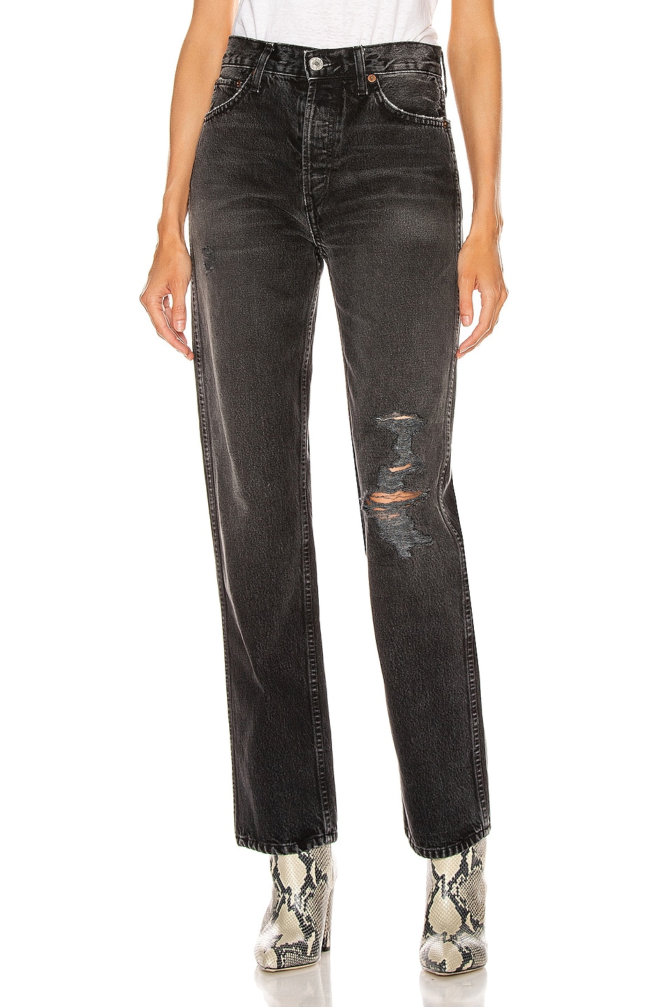 Image 1 of RE/DONE High Rise Loose in Worn In Black