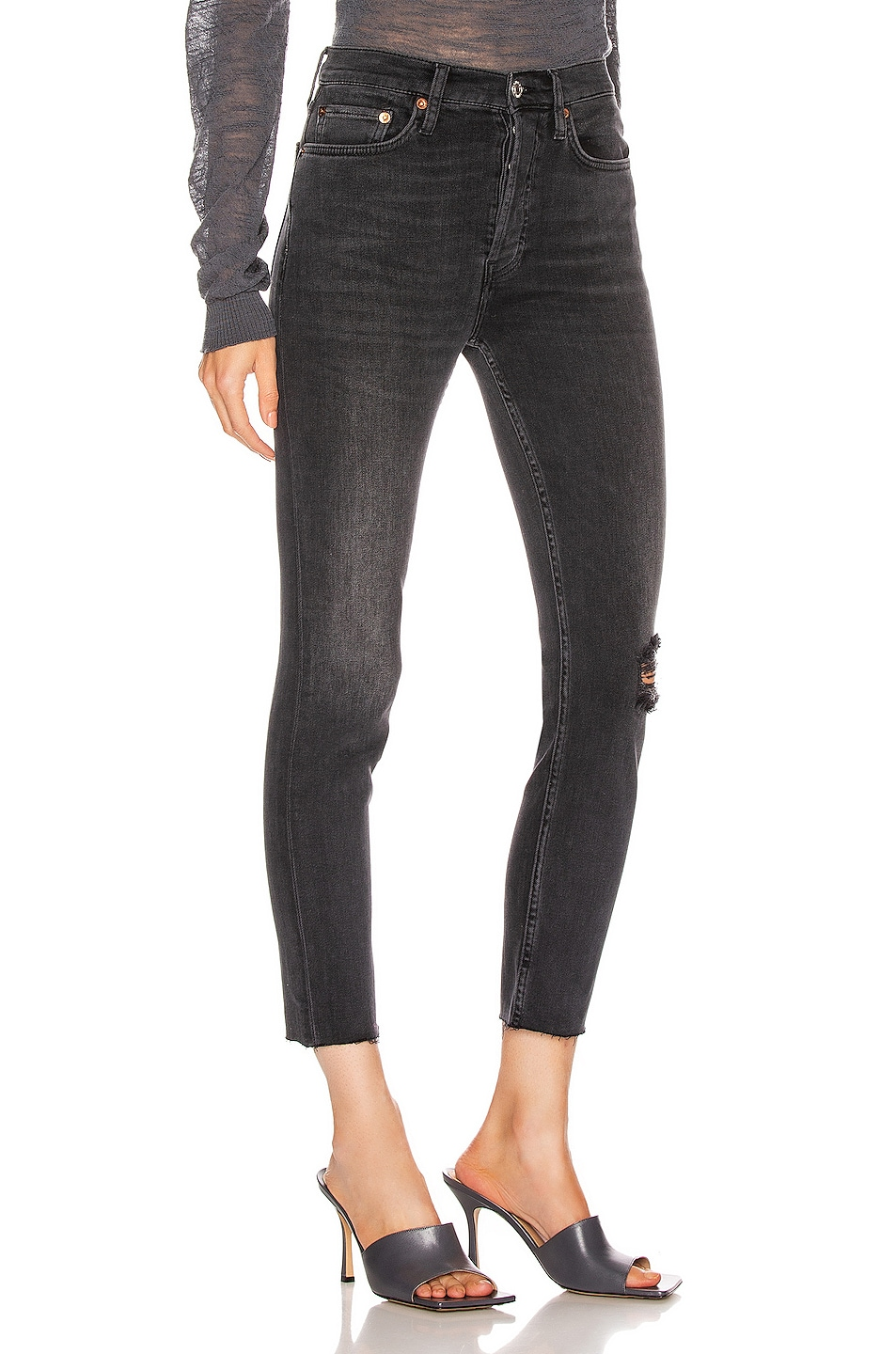 Image 2 of RE/DONE High Rise Ankle Crop in Lived In Black