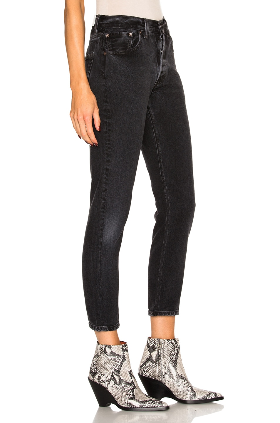 Image 3 of RE/DONE Levi's High Rise Ankle Crop in Black