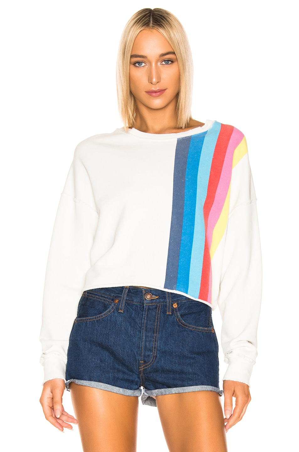 Image 1 of RE/DONE Striped Crewneck Sweatshirt in Off White