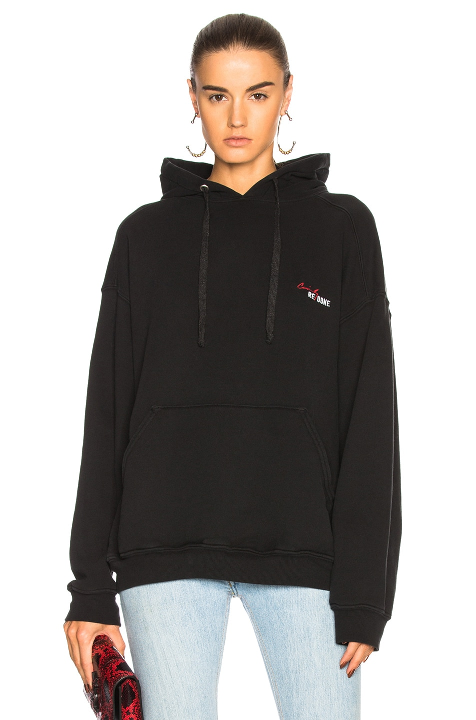 Image 1 of RE/DONE Cindy Crawford The Crawford Hoodie in Black