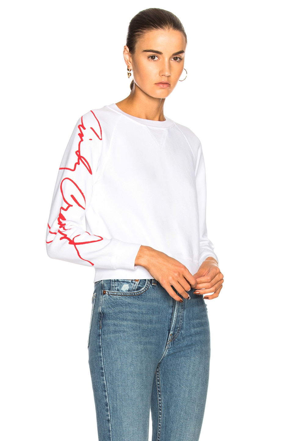 Image 1 of RE/DONE Cindy Crawford Classic Sweatshirt in Optic White