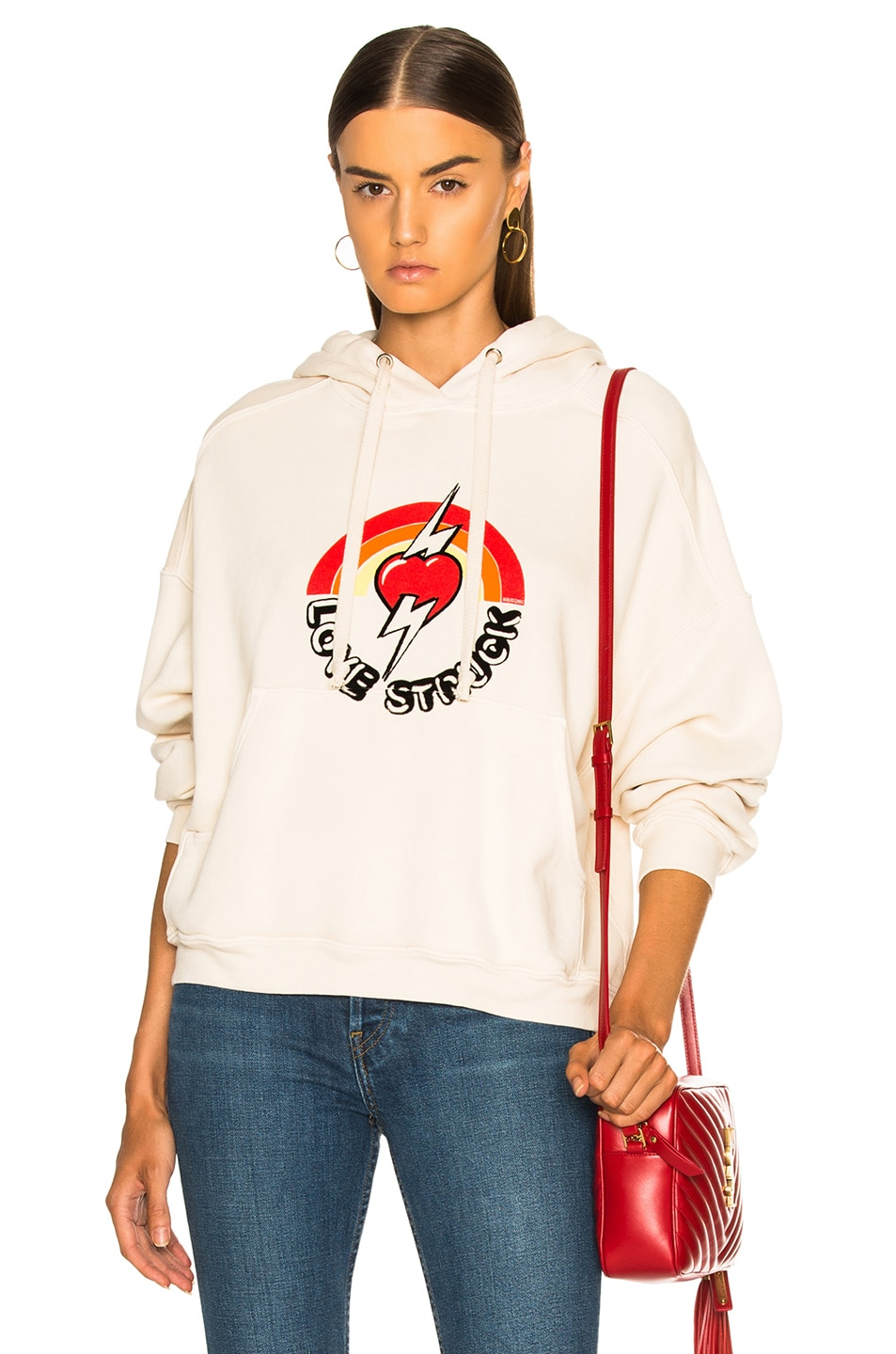 Image 1 of RE/DONE Oversized Love Struck Graphic Hoodie in Vintage White