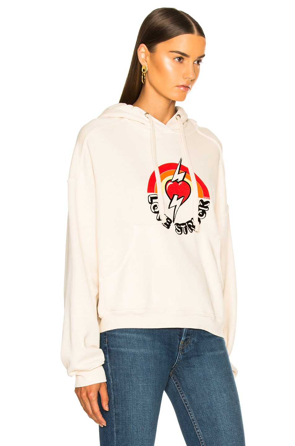 Image 2 of RE/DONE Oversized Love Struck Graphic Hoodie in Vintage White