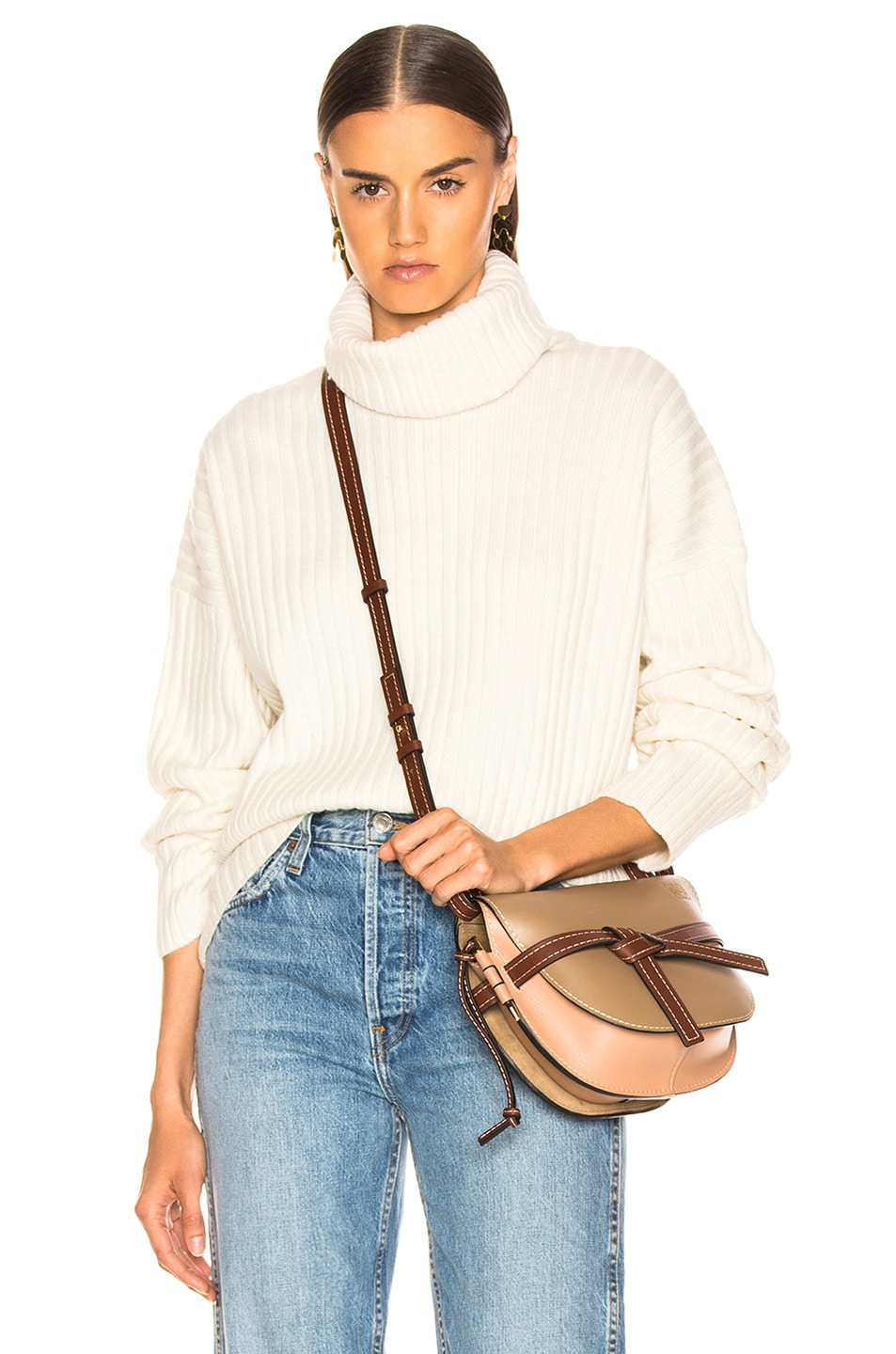 Image 1 of RE/DONE Chunky Rib Turtleneck in Ivory