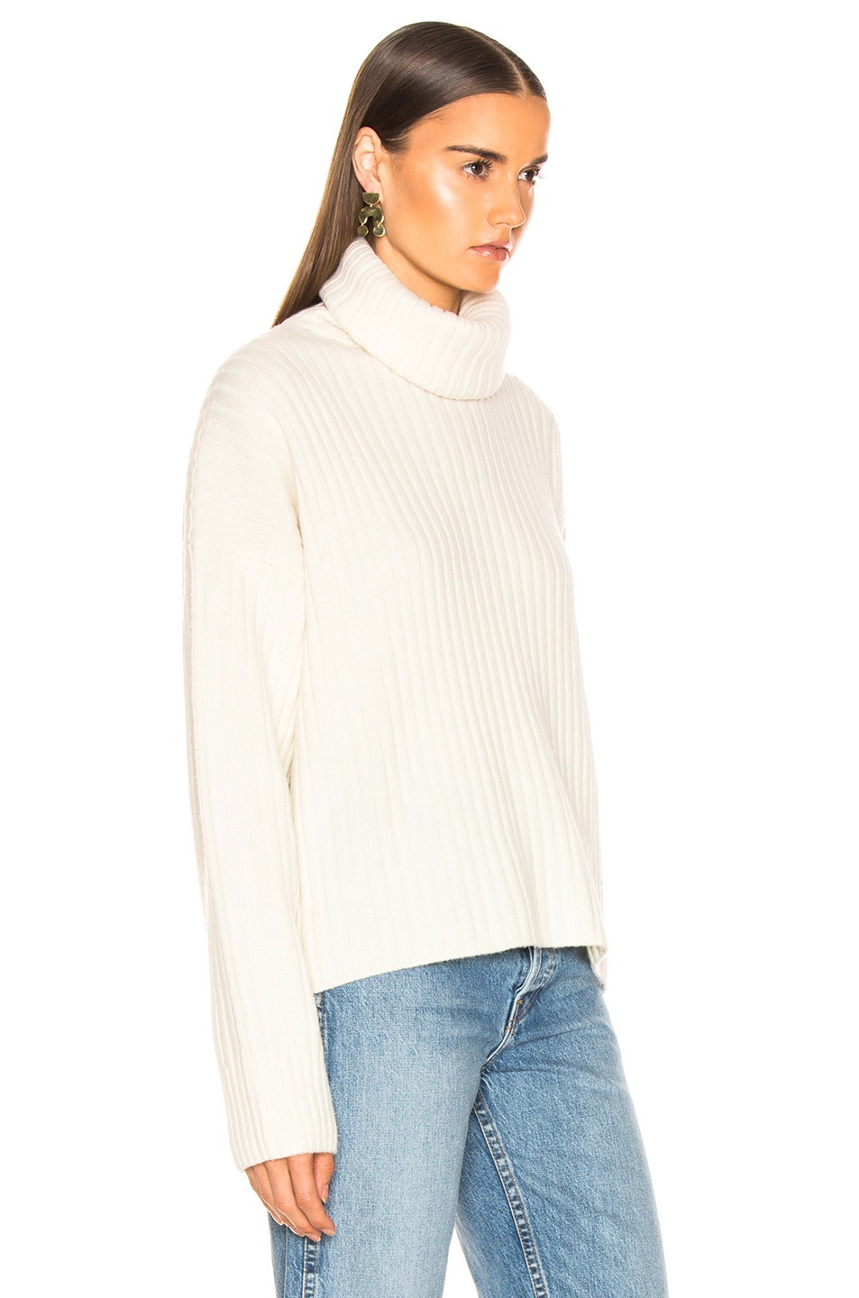 Image 2 of RE/DONE Chunky Rib Turtleneck in Ivory