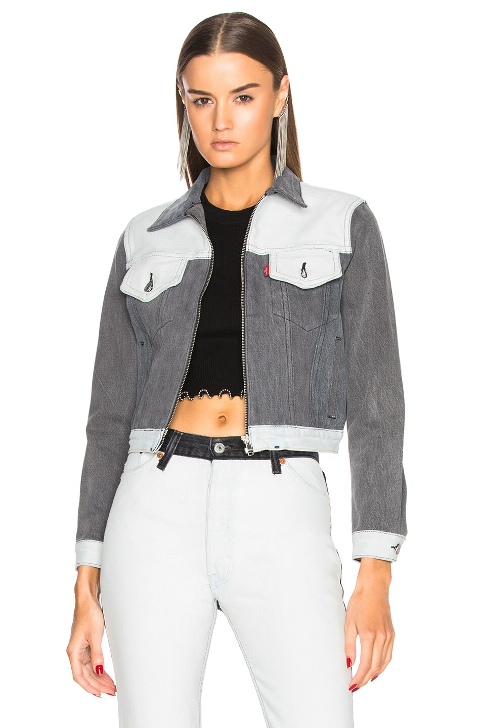 Image 2 of RE/DONE LEVI'S Heritage Box Jacket in Black & White