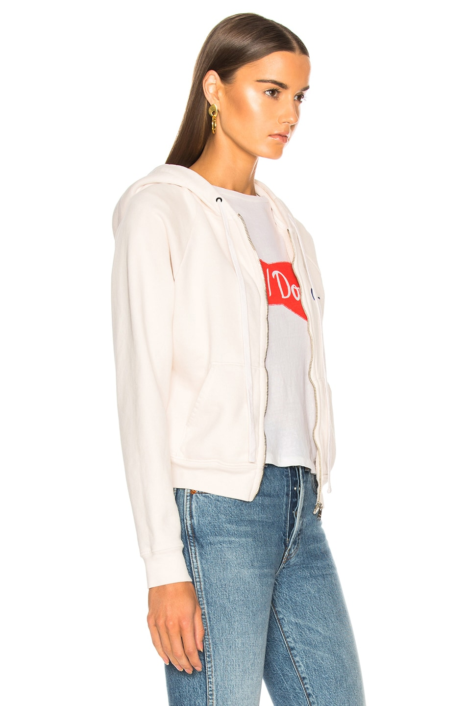 Image 3 of RE/DONE Chain Stitch Zip Hoodie in Vintage White