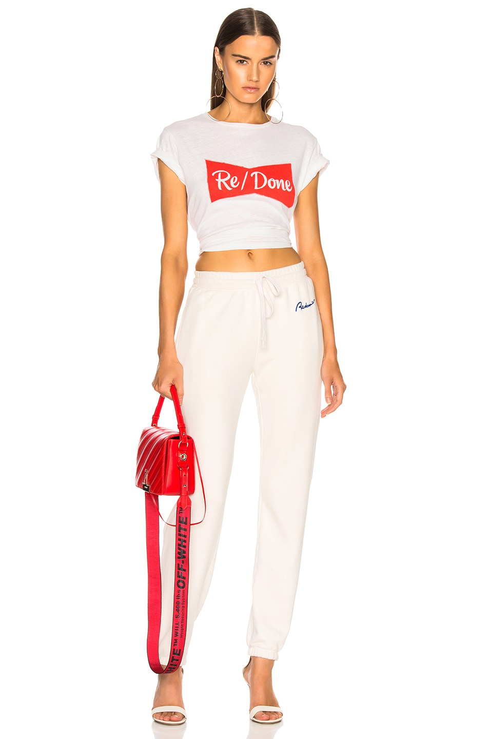 Image 5 of RE/DONE Chain Stitch Sweatpants in Vintage White