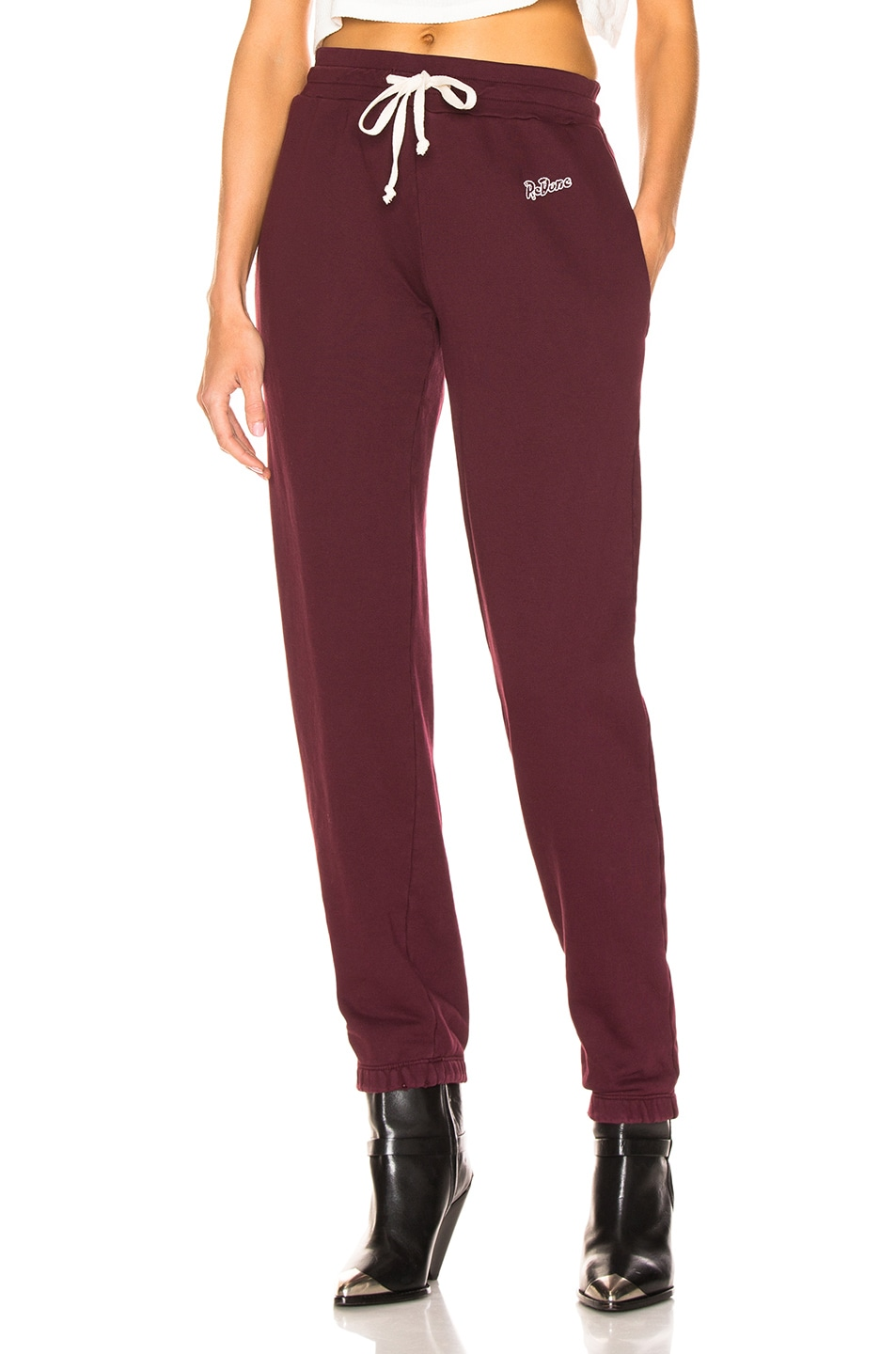 Image 1 of RE/DONE Sweatpant With Embroidery in Burgundy