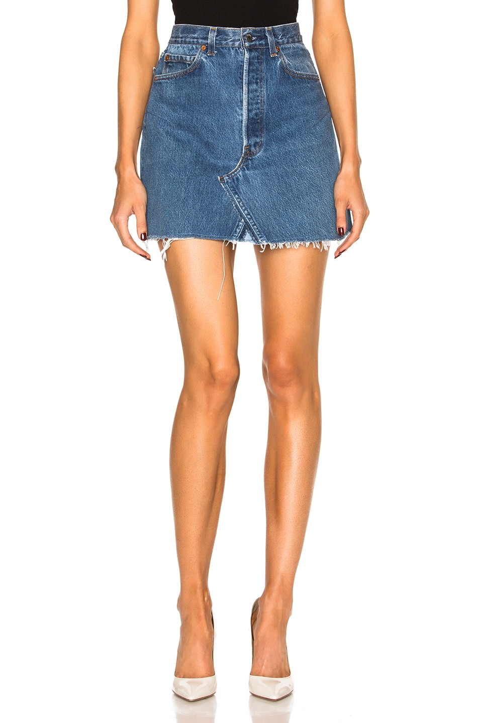 Image 1 of RE/DONE Levi's High Rise Mini Skirt in Blue