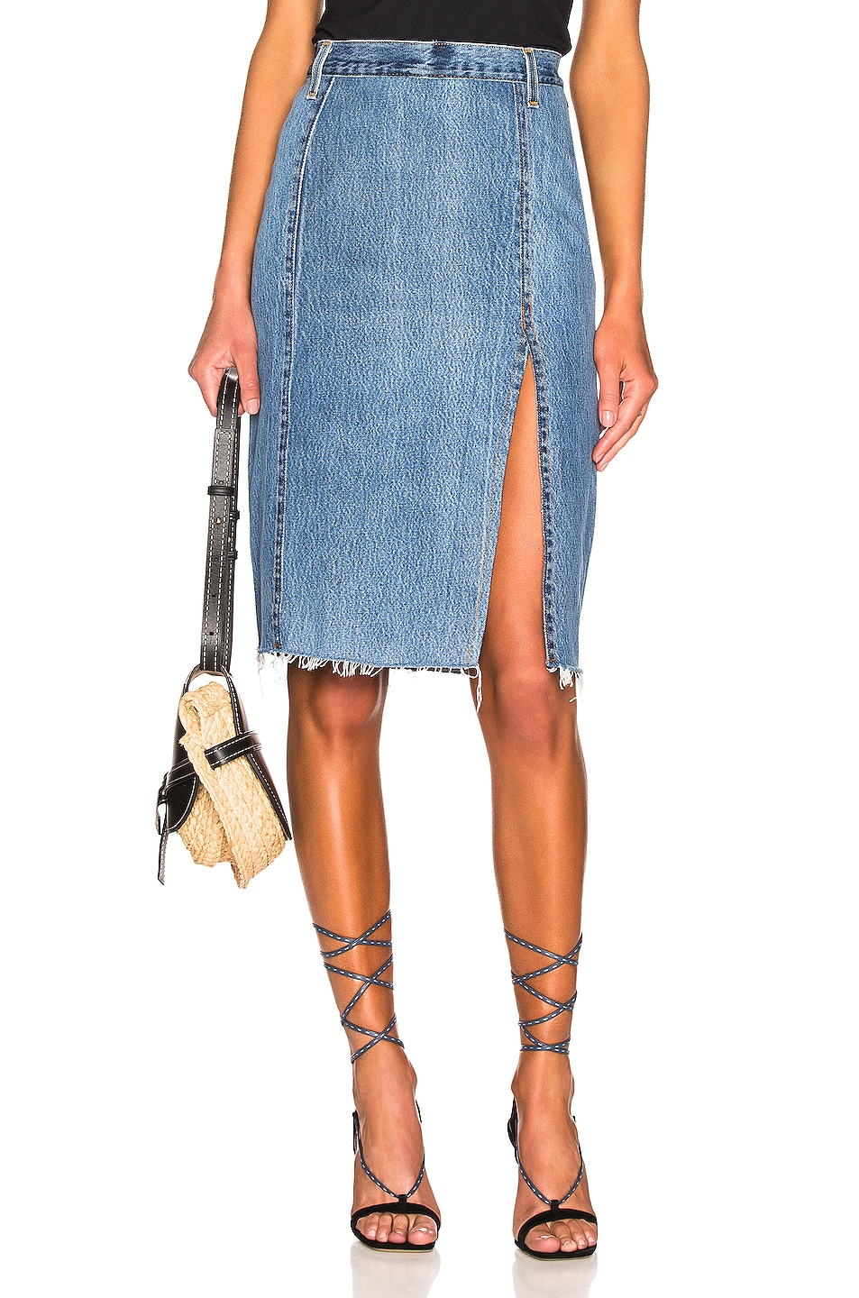 Image 1 of RE/DONE Levis Long Skirt in Indigo