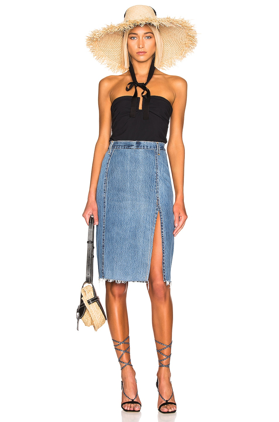 Image 4 of RE/DONE Levis Long Skirt in Indigo