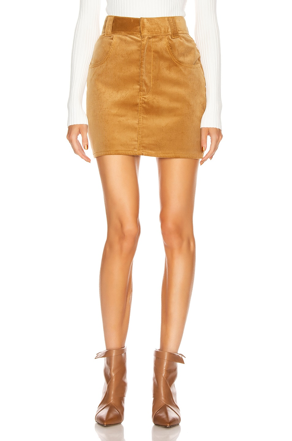 Image 1 of RE/DONE 90's Ultra High Rise Western Pocket Skirt in Camel