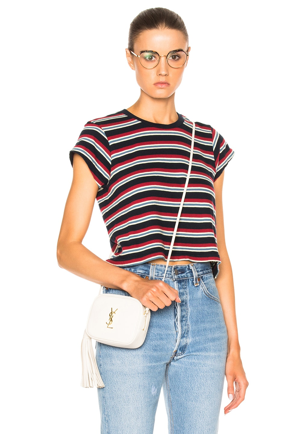 Image 1 of RE/DONE Stripe Boxy Tee in Red