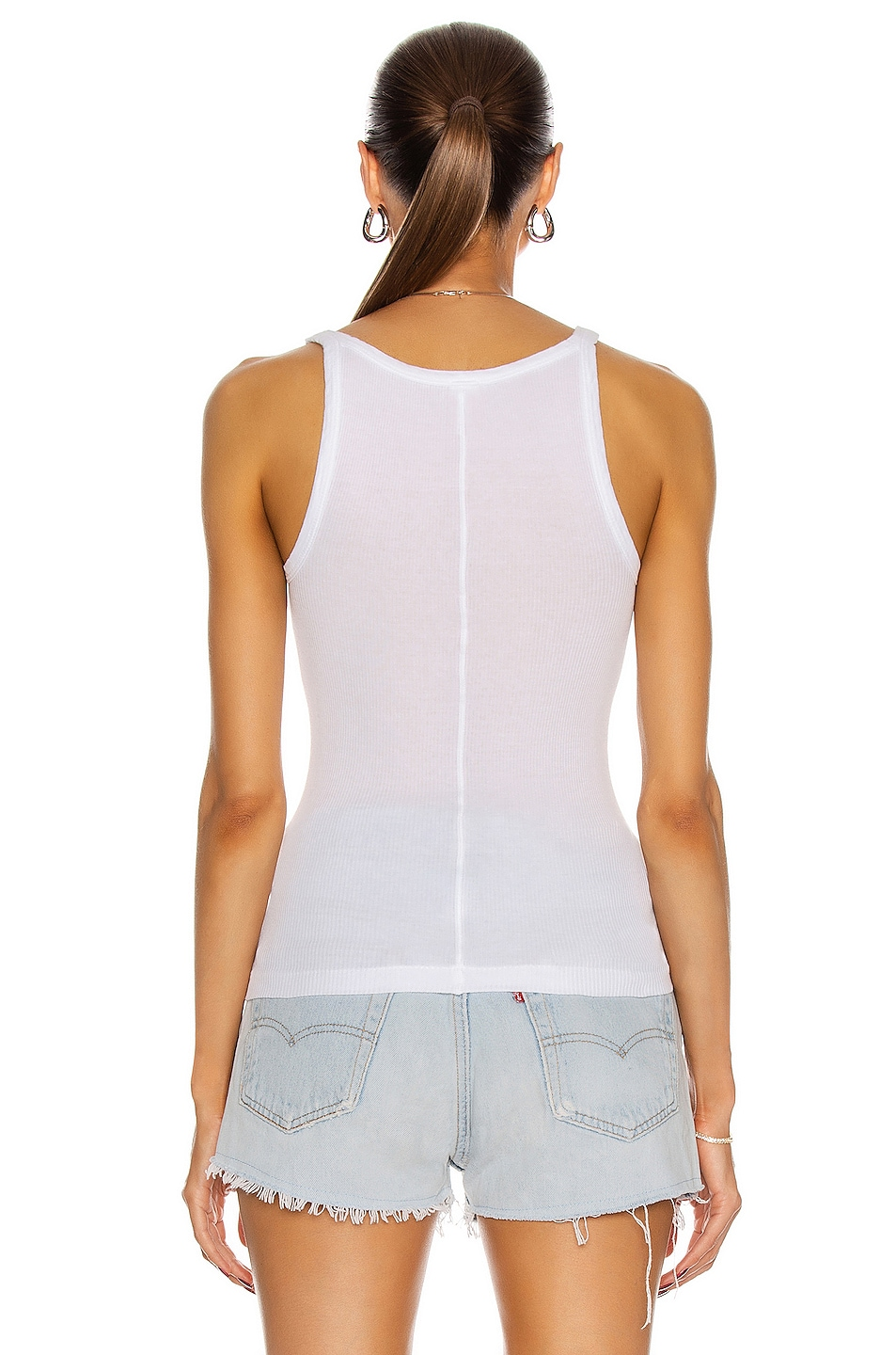 Free Shipping In China Original Sale Online Ribbed Tank Top in White Re/Done How Much Sale Online Outlet Popular BCilro