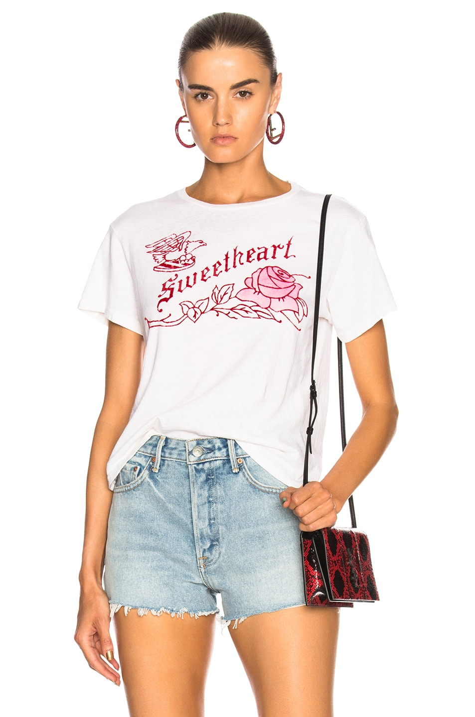 Image 1 of RE/DONE ORIGINALS Classic Sweetheart Tee in Vintage White