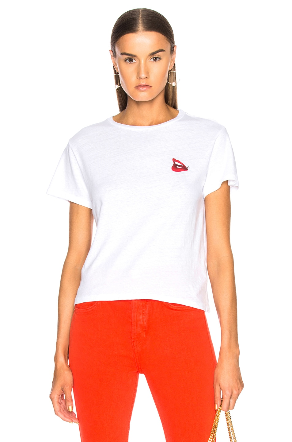 Image 1 of RE/DONE Cindy Crawford Lips Tee in Optic White